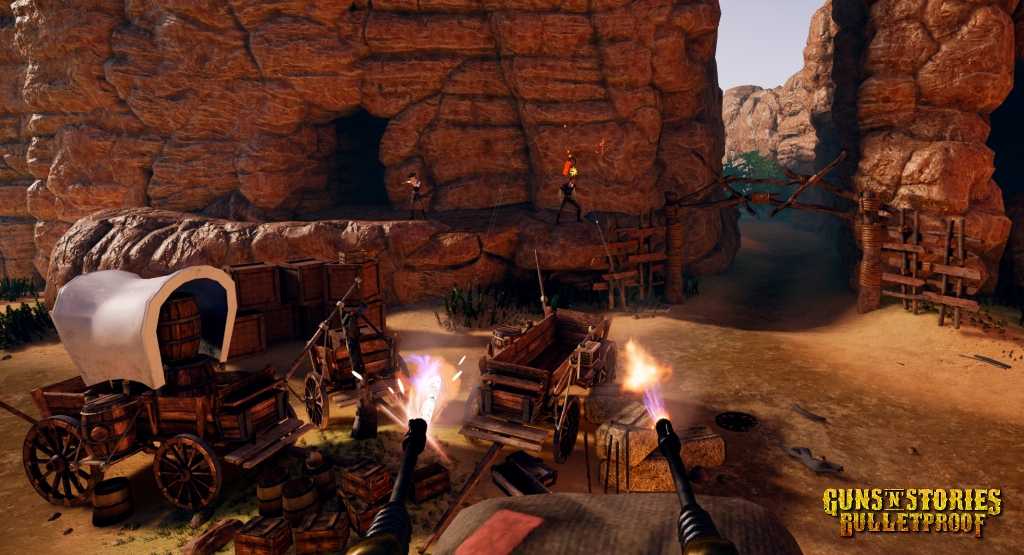 Guns'n'Stories: Bulletproof - buy this Virtual Reality game on Caer Sidi. It's a super fun VR shooter in the Wild West