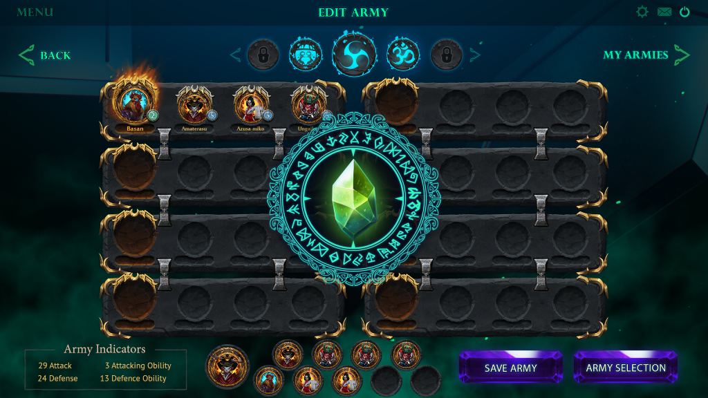 Play Altar: the War of Gods - screenshot of the interface