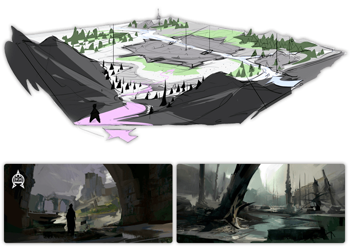 Sketches of the location Parma for the upcoming game Post Scroptum RPG